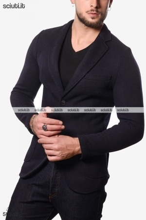 Giacca in panno navy blue formal texture
