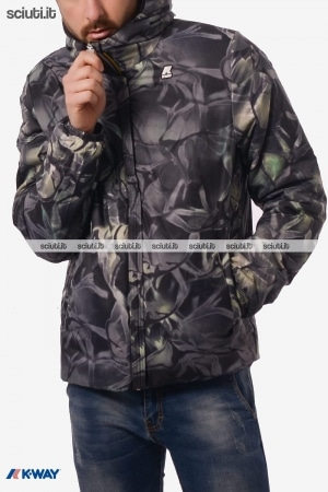 Giacca Kway uomo Jacques warm double graphic nero camouflage