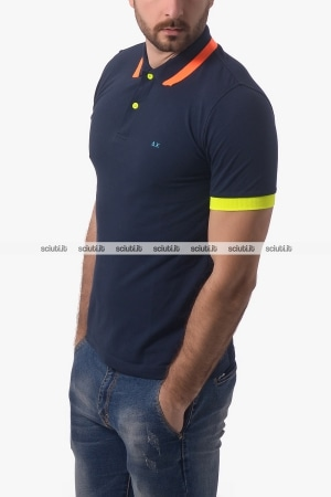Polo SUN68 uomo big stripes fluo blu scuro
