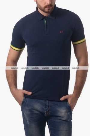 Polo SUN68 uomo el tape navy blu
