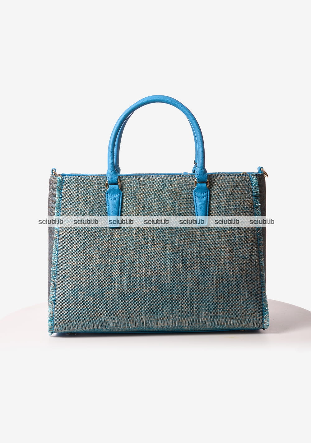 f2c35d7212 Borsa shopping Trussardi jeans donna Ischia in tessuto azzurro ...