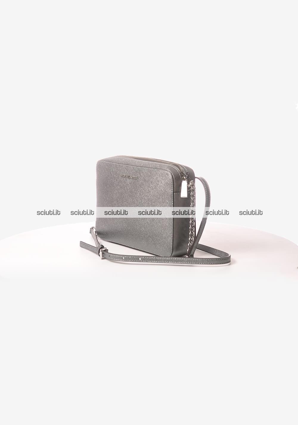 dccebc598c Borsa a tracolla Michael Kors donna Jet Set in pelle metallizzata grande  argento