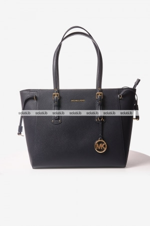 Borsa a spalla Michael Kors donna Voyager in pelle media blu