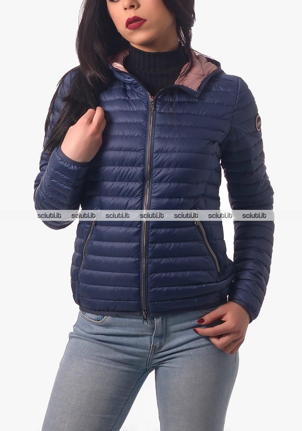 Piumino Colmar donna blu interno rosa leggero con cappuccio