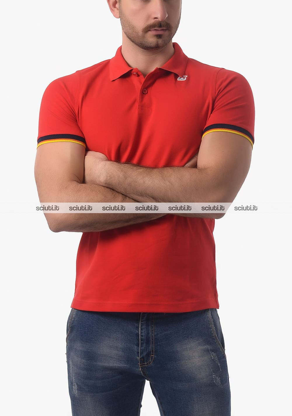Polo Kway uomo Vincent Contrast rosso