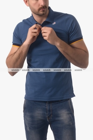 Polo Kway uomo Vincent Contrast blu