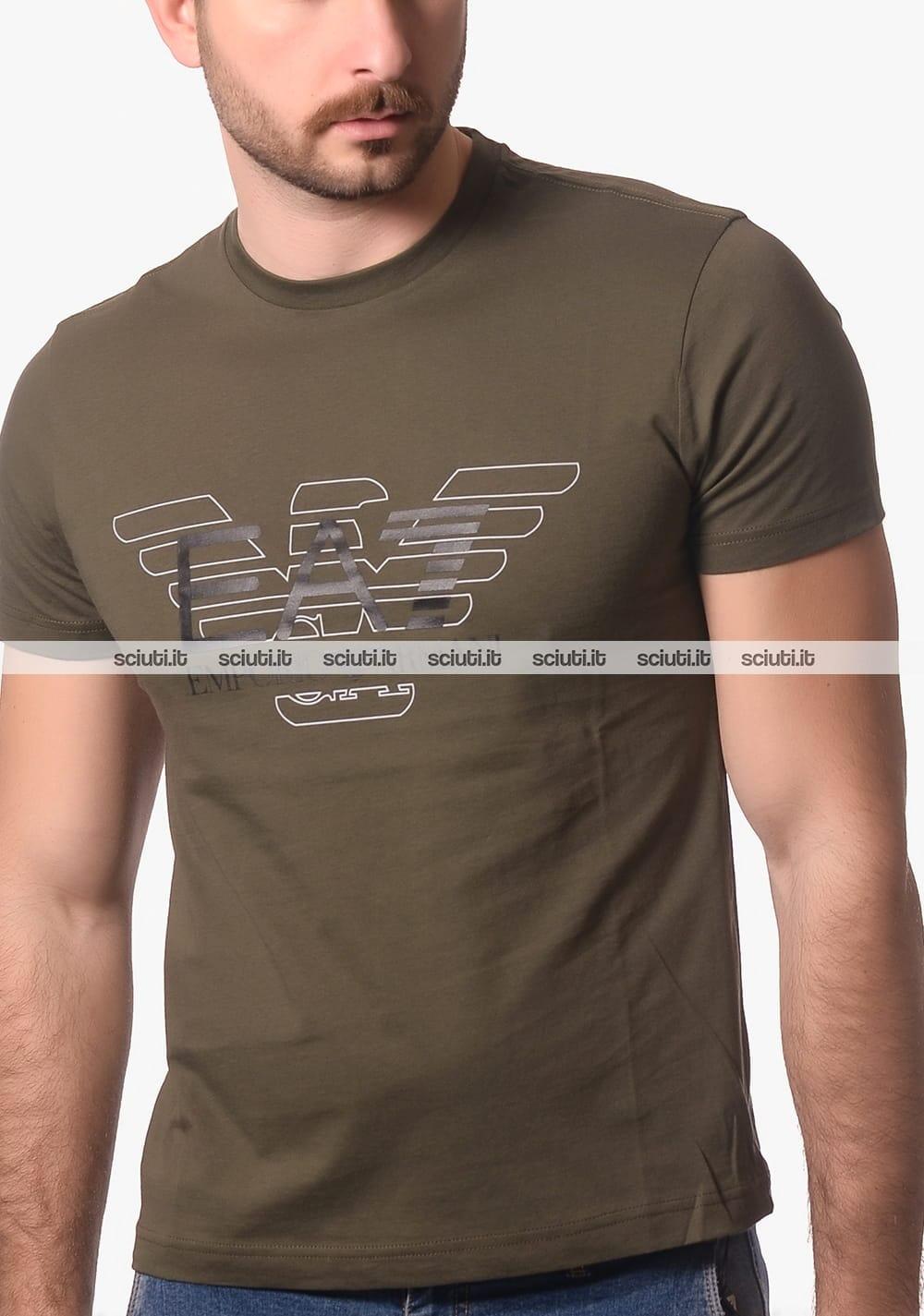 2b67007bea Tshirt EA7 uomo logo frontale verde militare   Sciuti.it