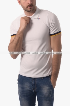 Polo Kway uomo Vincent Contrast bianco