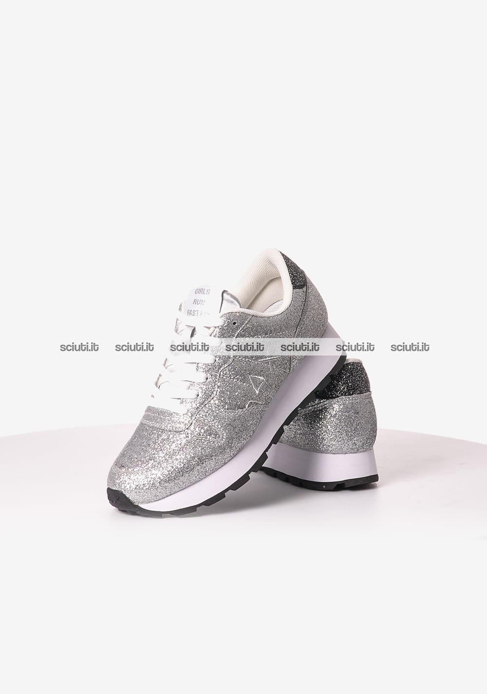 Scarpe SUN68 donna running thin glitter argento | Sciuti.it