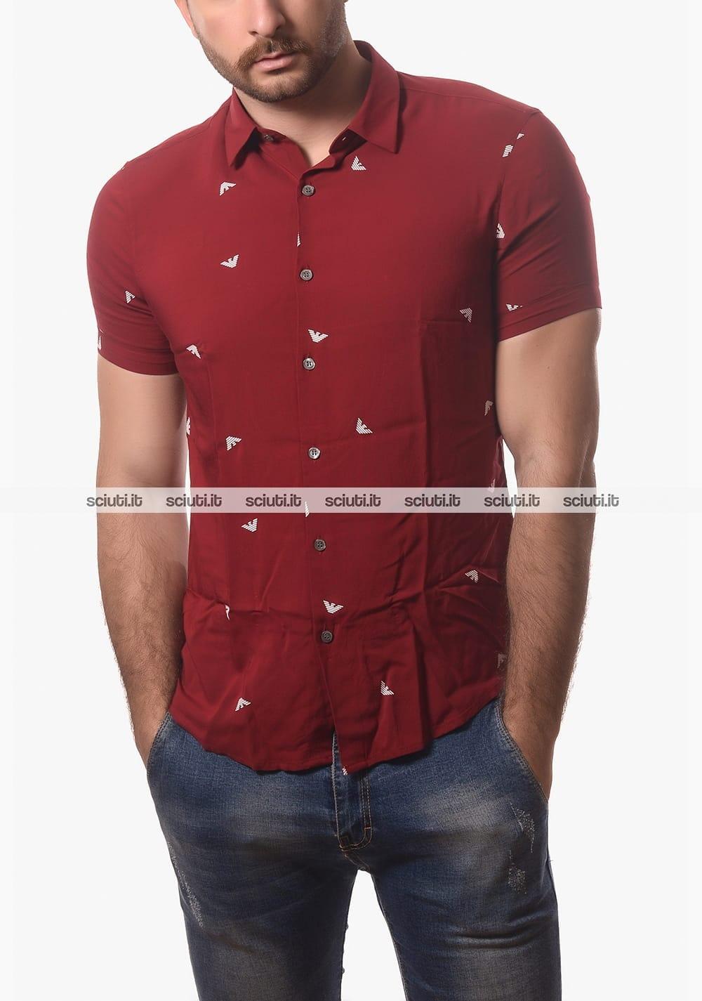 new styles 3bb63 c82aa Camicia Emporio Armani uomo maniche corte rosso   Sciuti.it