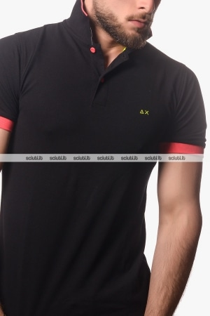 Polo SUN68 uomo small stripes fluo nero