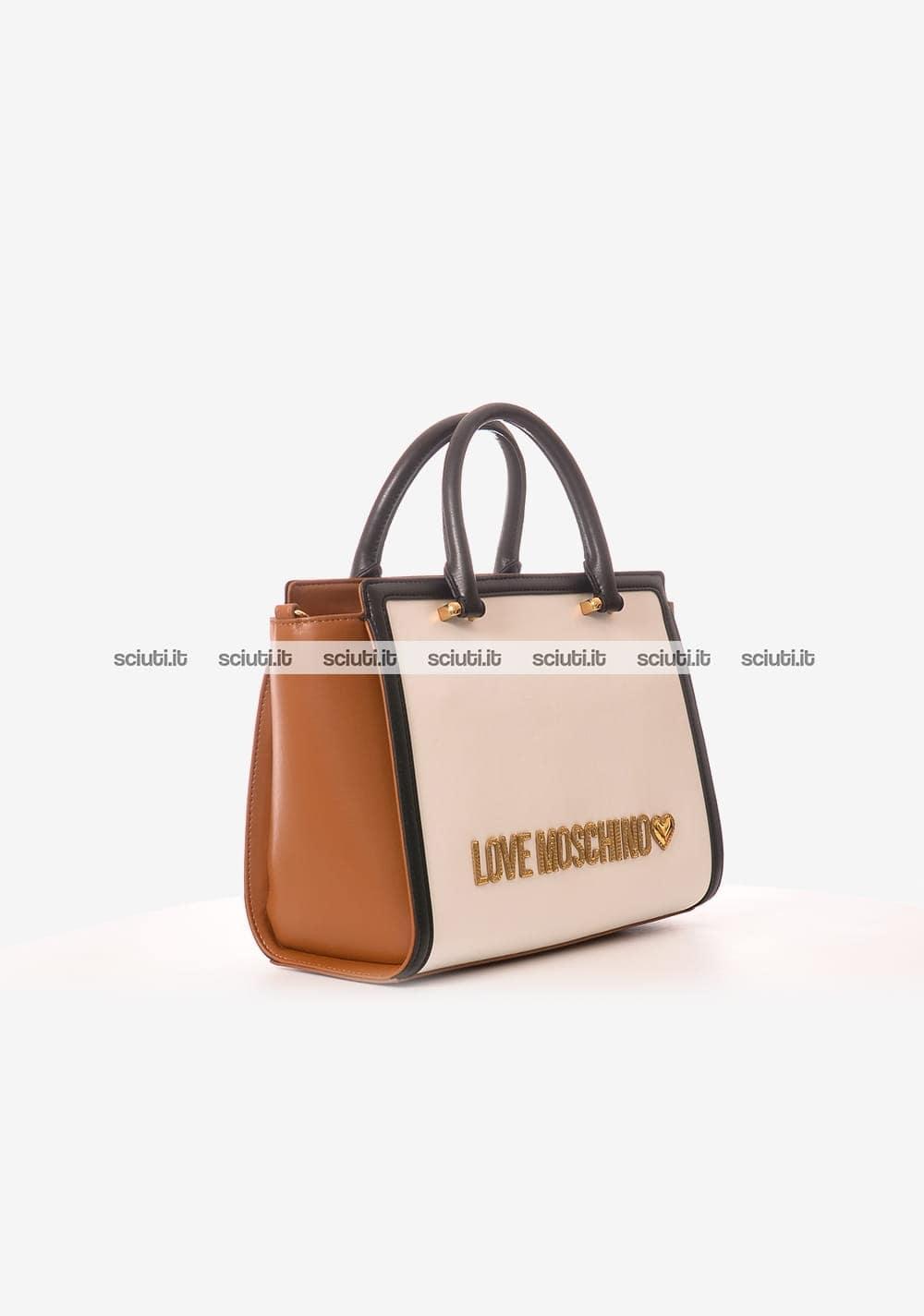 1c1e50b857 Borsa a mano Love Moschino donna trapuntata bianco nero marrone ...