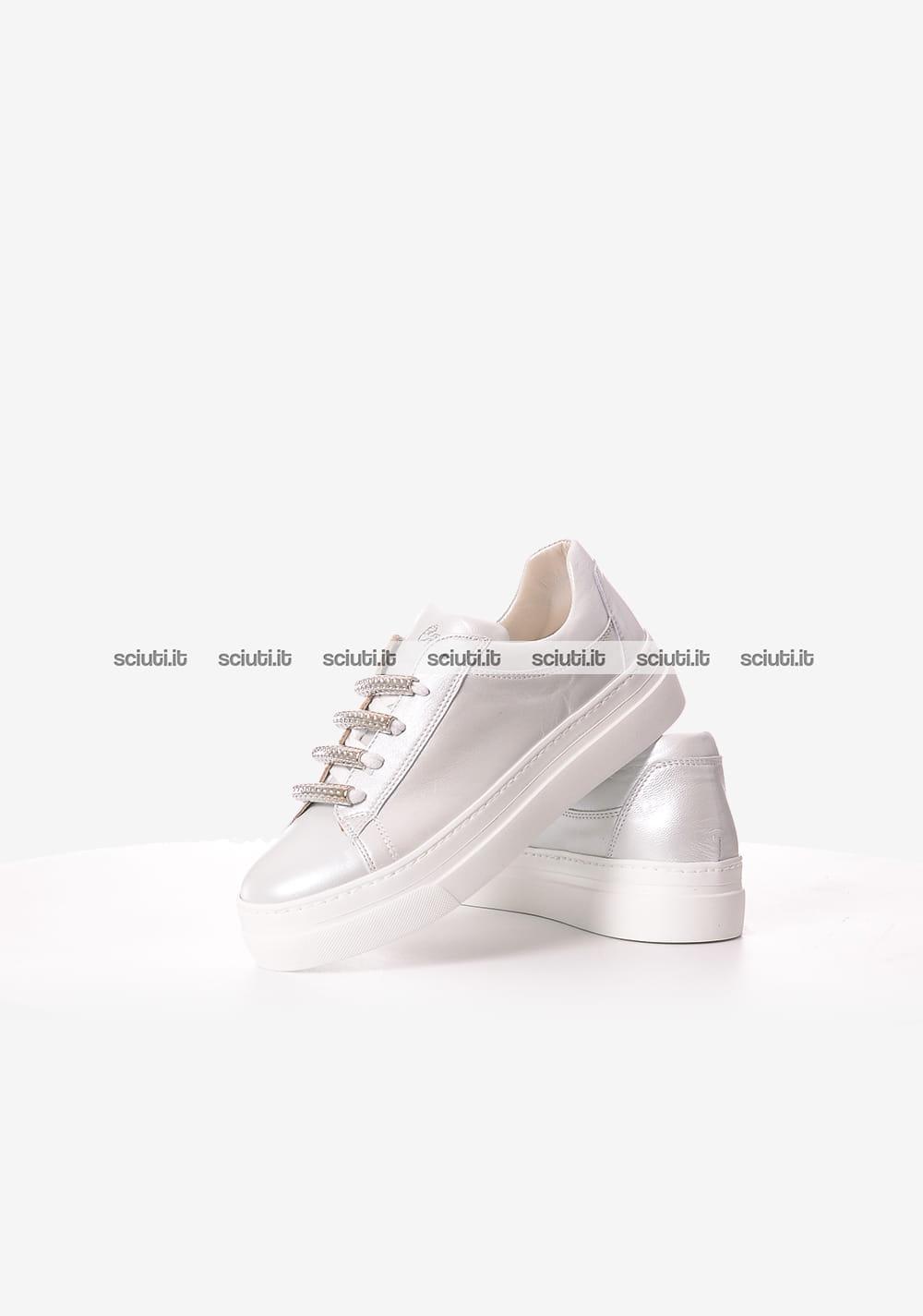 Scarpe cesare paciotti donna sneakers diva argento perlato sciuti pelle
