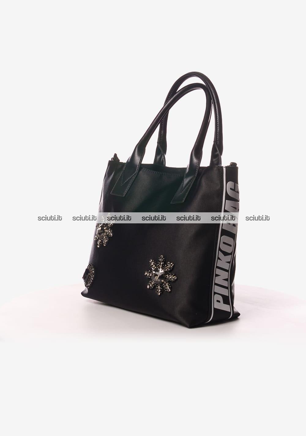 Borsa shopping Pinko donna Canesca gioiello nero  f06c1a64c6d