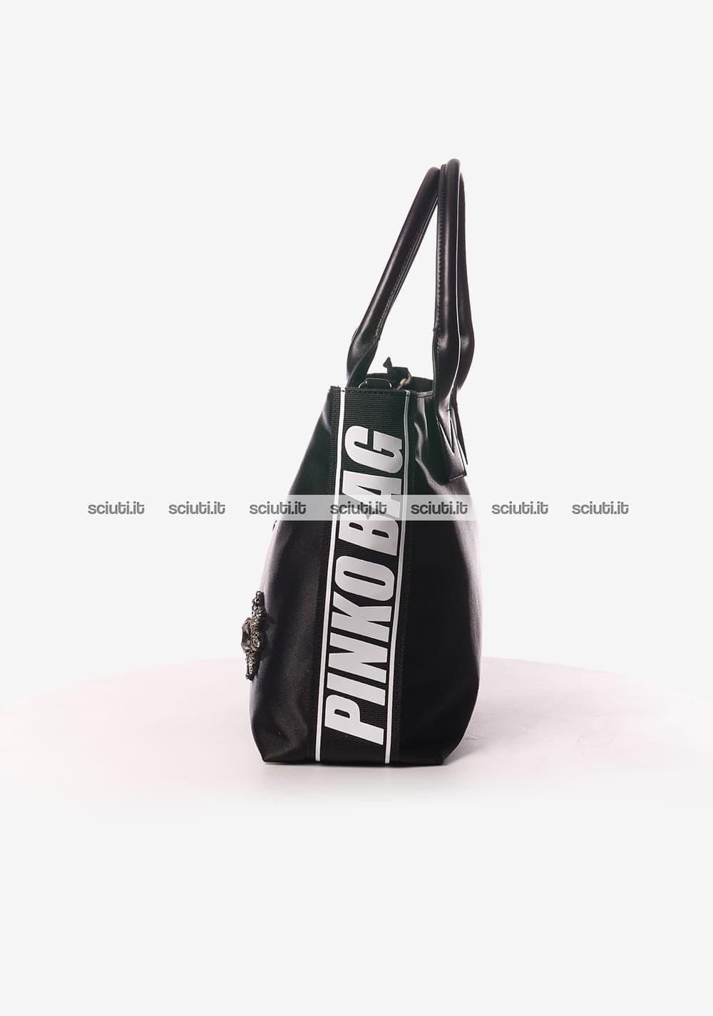 Borsa shopping Pinko donna Canesca gioiello nero  e971176dc65