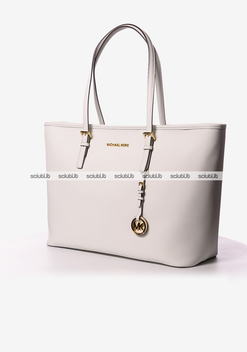 Borsa a spalla Michael Kors donna Jet set Travel in pelle bianco ... c89095261a9