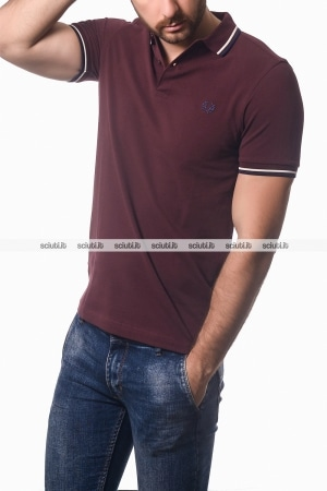 Polo Fred Perry uomo twin tipped mogano