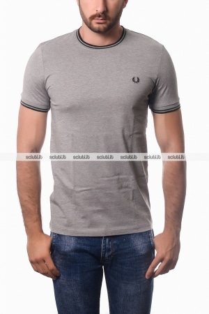 Tshirt Fred Perry uomo twin tipped grigio