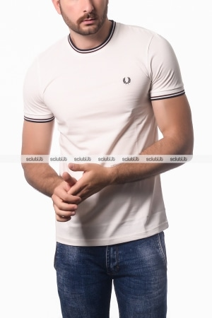Tshirt Fred Perry uomo twin tipped bianco