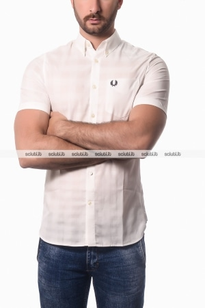 Camicia Fred Perry uomo tonal gingham bianco
