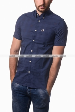 Camicia Fred Perry uomo tonal gingham blu