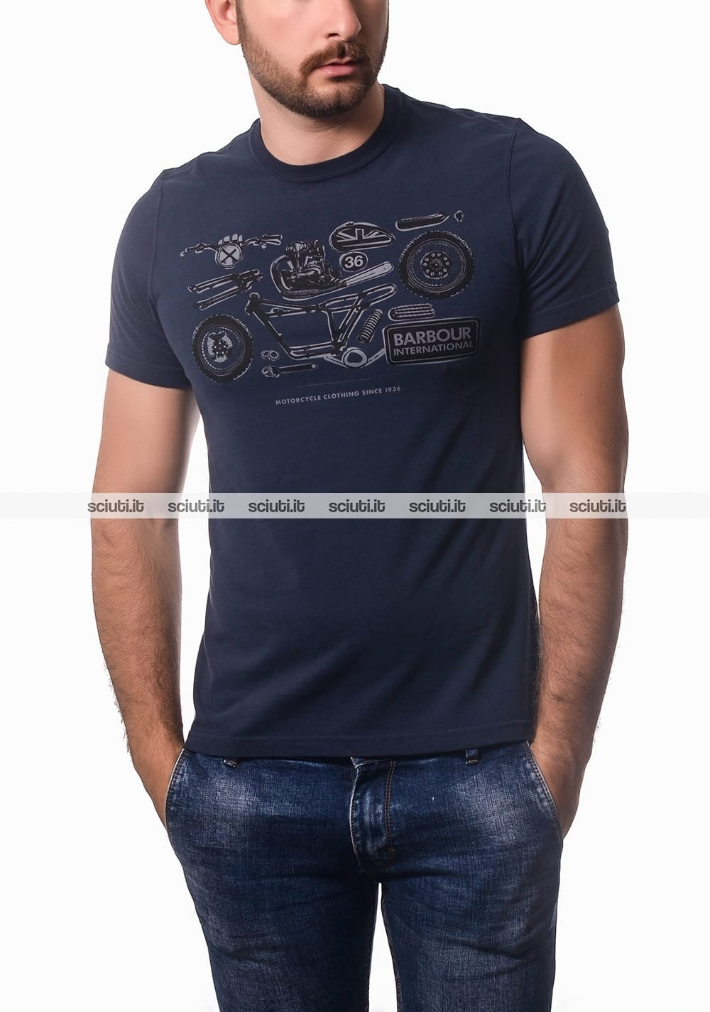 Tshirt Barbour uomo Mechanical blu navy