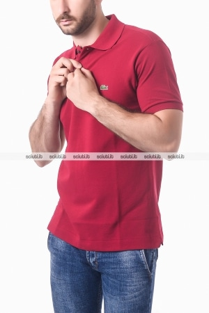 Polo Lacoste uomo petit pique bordeaux classic fit