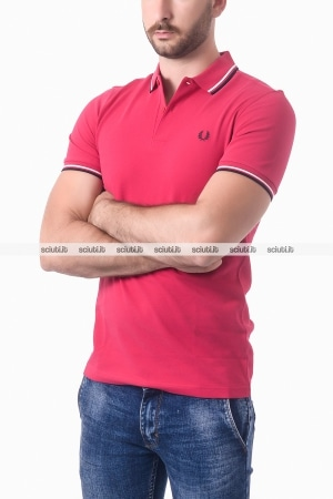 Polo Fred Perry uomo twin tipped rosso