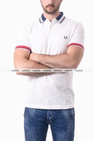Polo Fred Perry uomo bordi in contrasto bianco