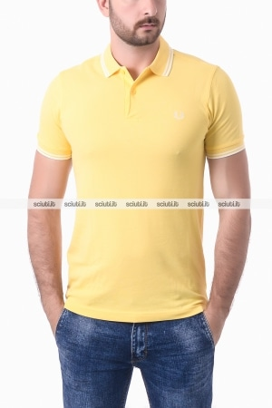 Polo Fred Perry uomo twin tipped giallo