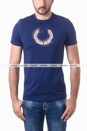 Tshirt Fred Perry uomo logo frontale blu navy