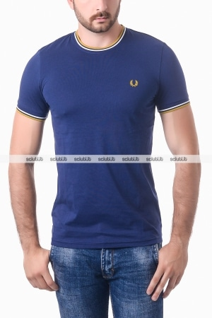 Tshirt Fred Perry uomo twin tipped blu navy