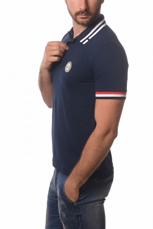 Polo SUN68 uomo Heritage Patch blu navy