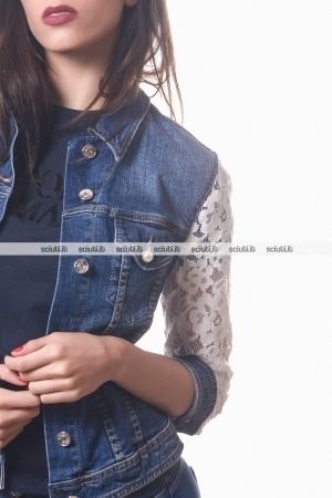 Giacca jeans Liu Jo donna Comely inserti in pizzo