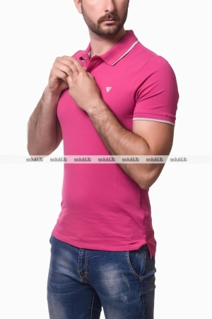 Polo Guess uomo bordi in contrasto rosa