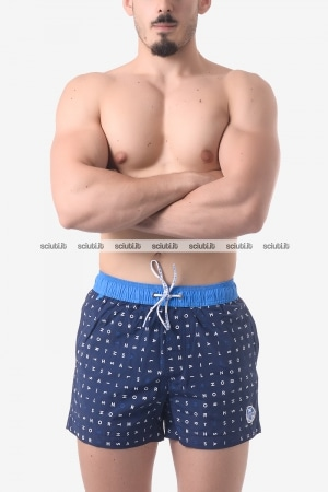 Costume boxer uomo North Sails Lowell Volley stampa all over blu