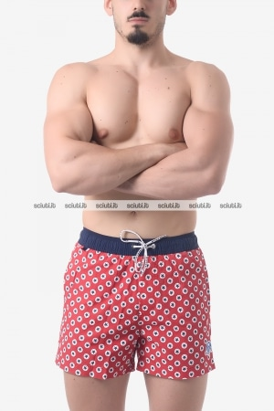 Costume boxer uomo North Sails Lowell Volley stampa all over rosso