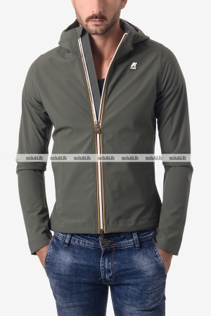 Giacca Kway uomo Jack bonded jersey verde militare