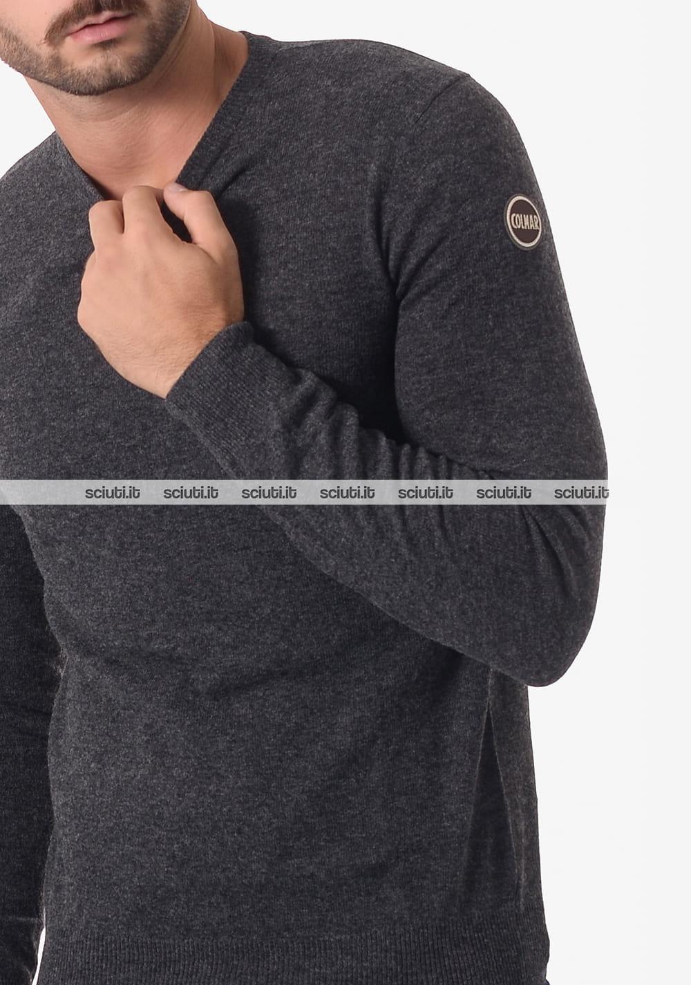Maglia girocollo Colmar uomo lana e cachemire grigio scuro