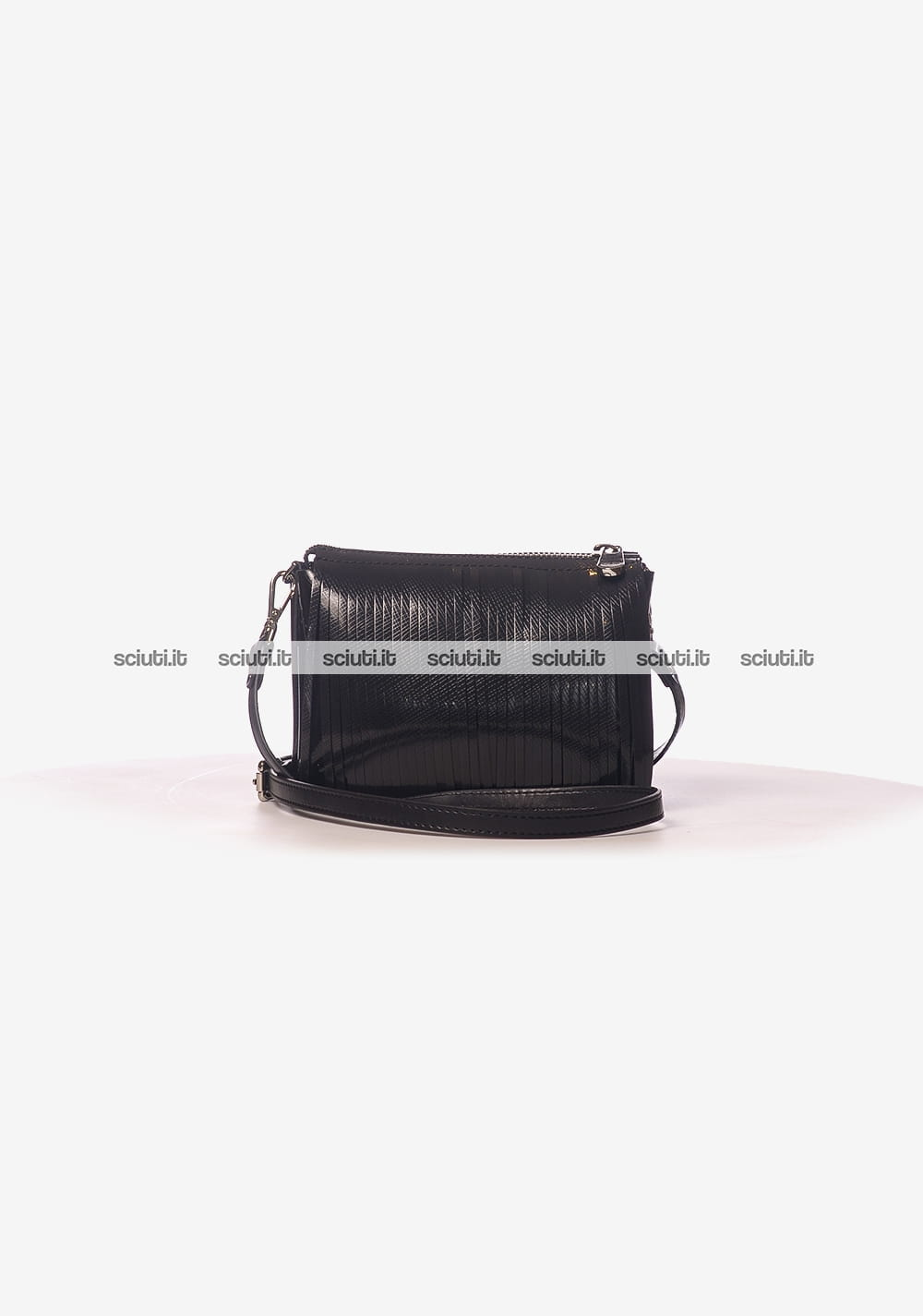 214d3e02df Borsa tracolla Gum donna frangia glossy nero | Sciuti.it