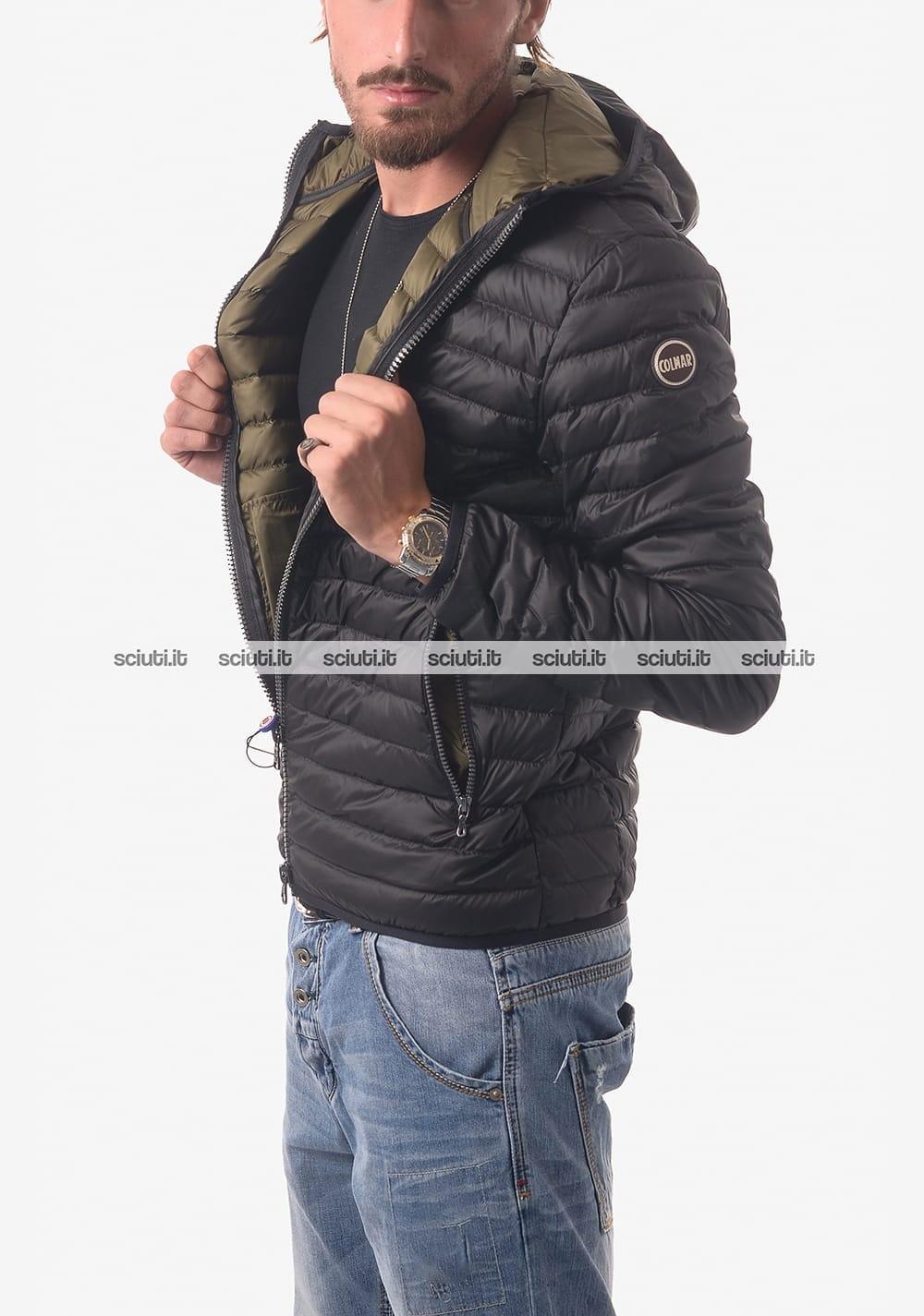 size 40 4cfdb dbb58 Piumino Colmar uomo leggero con cappuccio nero interno verde