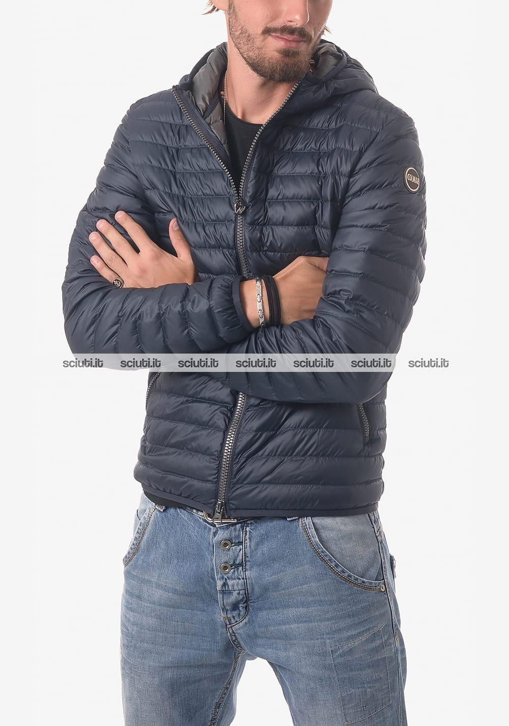 Piumino Colmar uomo leggero con cappuccio blu interno grigio