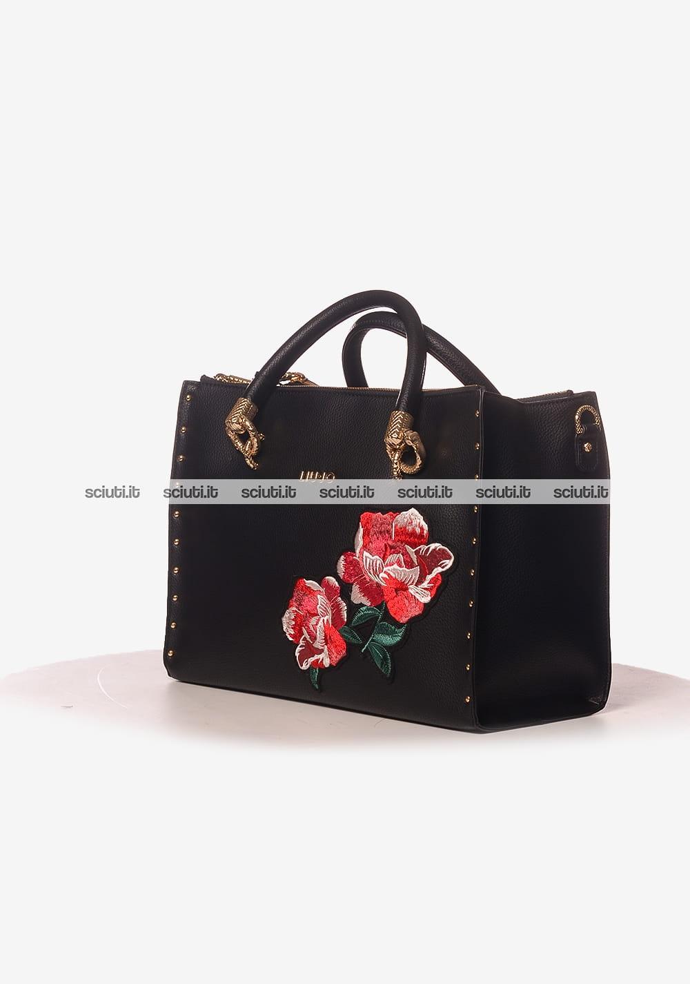 Borsa a mano Liu Jo donna Darsena doppia zip ricamo rose nero ... 950e4496c1a