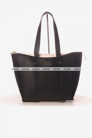 Borsa shopping media Pollini donna nero interno bianco
