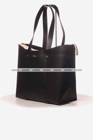 Borsa shopping grande Pollini donna nero interno bianco