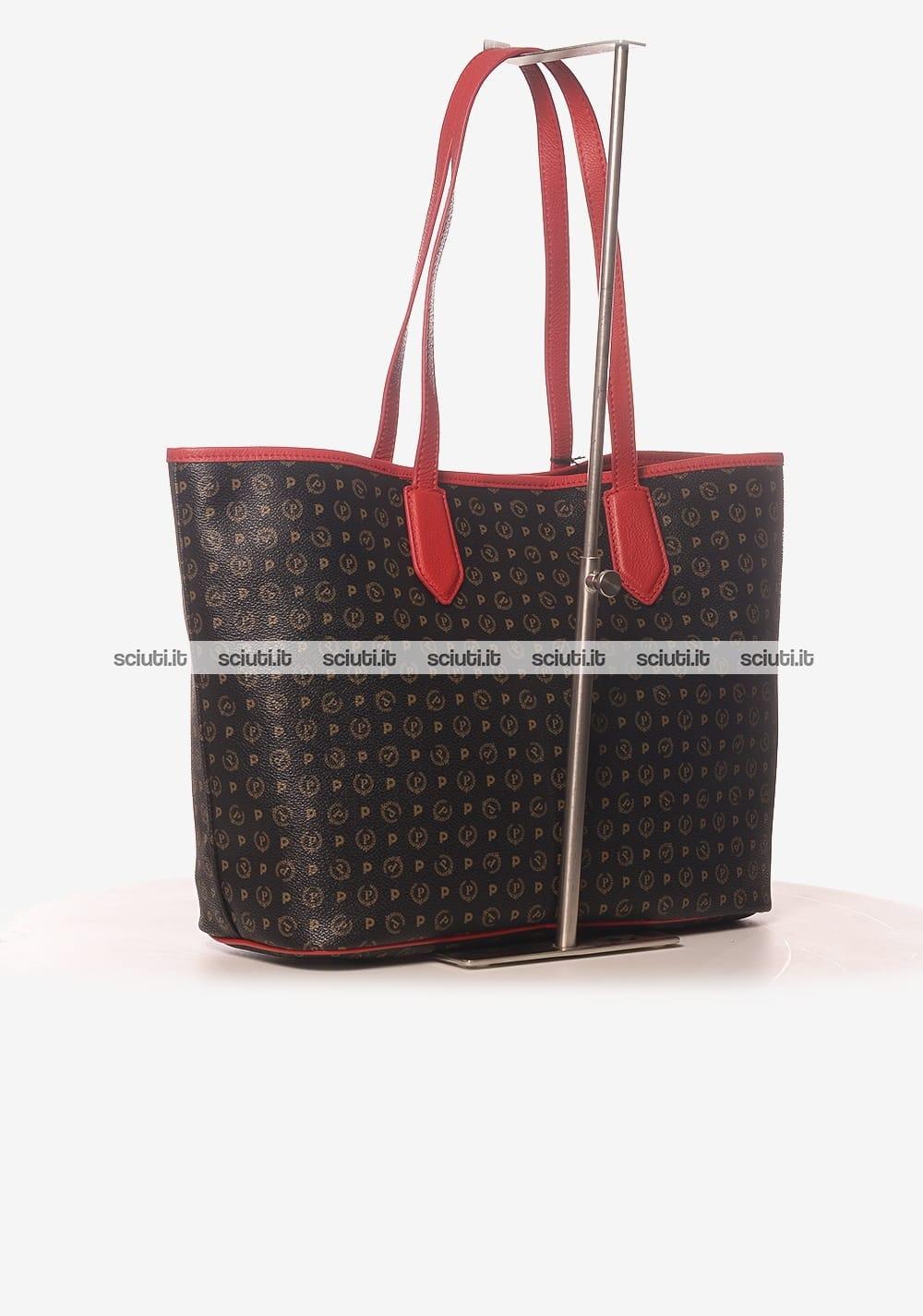 Borsa shopping Pollini Heritage donna logo all over rosso