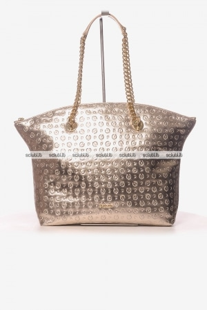 Borsa a spalla Pollini Heritage donna catena logo all over gold