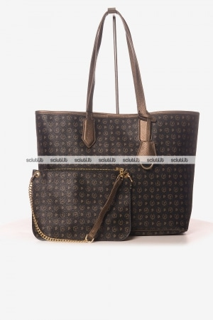 Borsa shopping Pollini Heritage donna logo all over bronzo