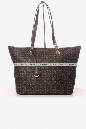 Borsa a spalla Pollini Heritage donna logo all over nero
