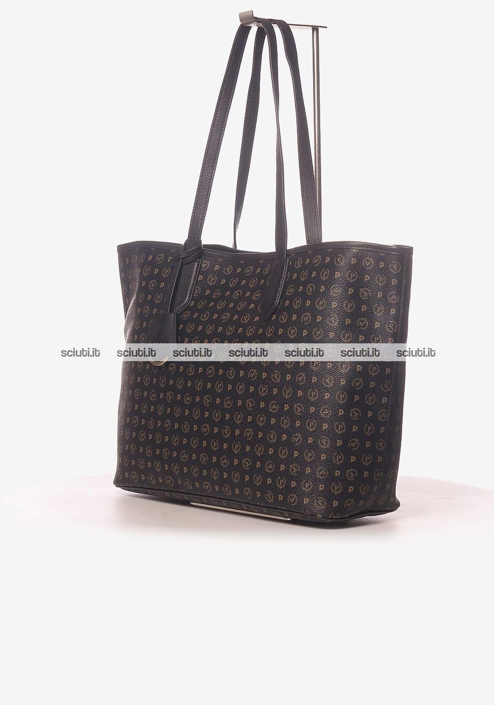 18a22840c3 Borsa shopping Pollini Heritage donna logo all over nero | Sciuti.it